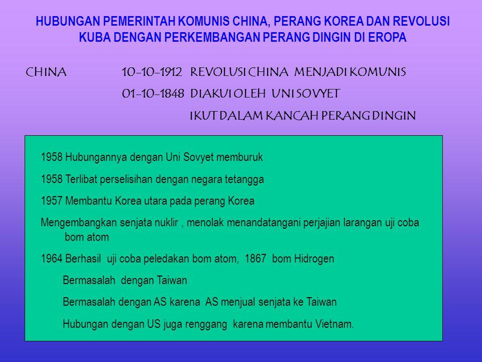 HUBUNGAN PEMERINTAH KOMUNIS CHINA, PERANG KOREA DAN REVOLUSI KUBA DENGAN PERKEMBANGAN PERANG DINGIN DI EROPA