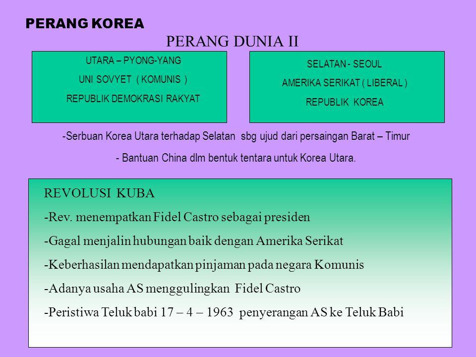 PERANG DUNIA II PERANG KOREA REVOLUSI KUBA