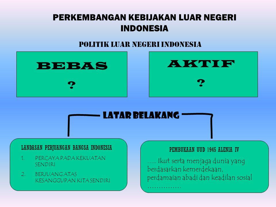 AKTIF BEBAS PERKEMBANGAN KEBIJAKAN LUAR NEGERI INDONESIA