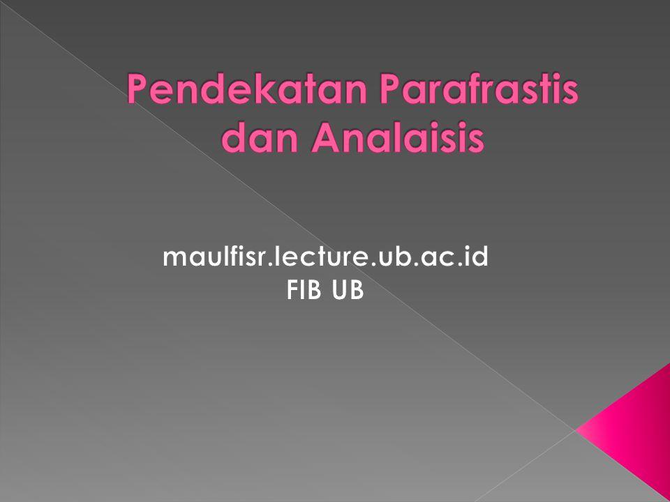 Pendekatan Parafrastis dan Analaisis