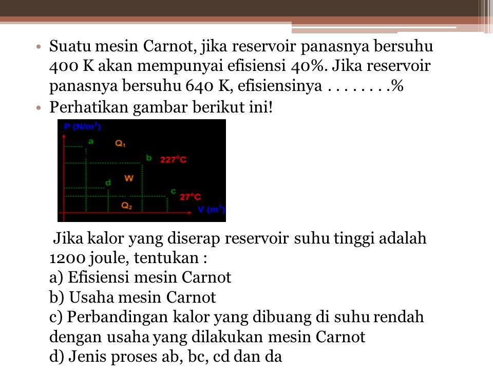 Suatu mesin Carnot, jika reservoir panasnya bersuhu 400 K akan mempunyai efisiensi 40%. Jika reservoir panasnya bersuhu 640 K, efisiensinya . . . . . . . .%