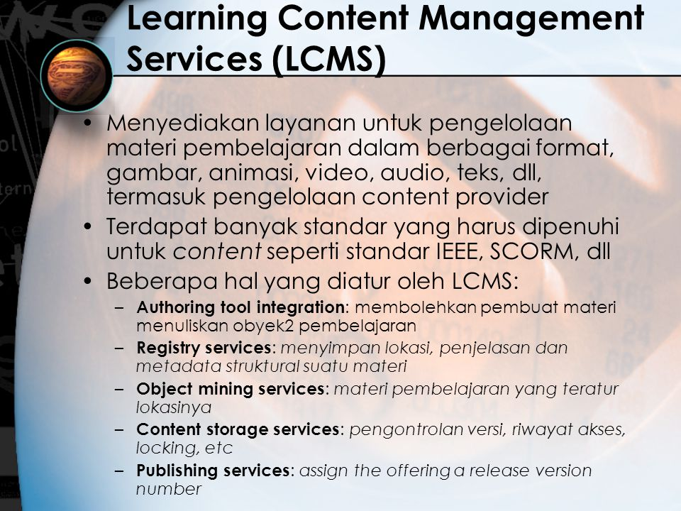 Learning Content Management Services (LCMS)