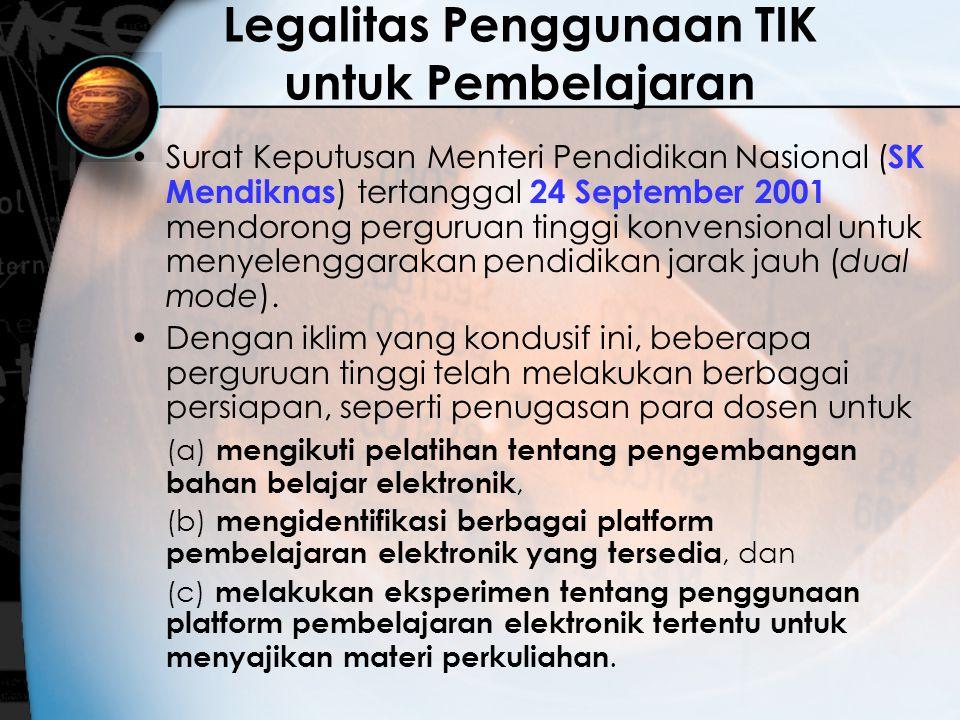 Legalitas Penggunaan TIK untuk Pembelajaran