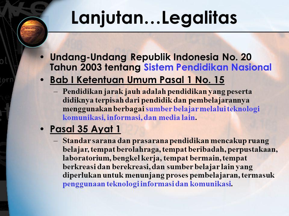 Lanjutan…Legalitas Undang-Undang Republik Indonesia No. 20 Tahun 2003 tentang Sistem Pendidikan Nasional.