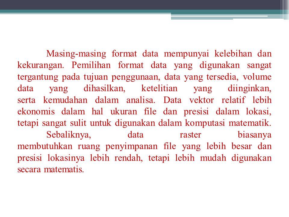 Masing-masing format data mempunyai kelebihan dan kekurangan