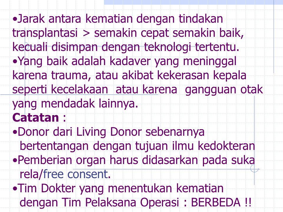 Jarak antara kematian dengan tindakan transplantasi > semakin cepat semakin baik, kecuali disimpan dengan teknologi tertentu.