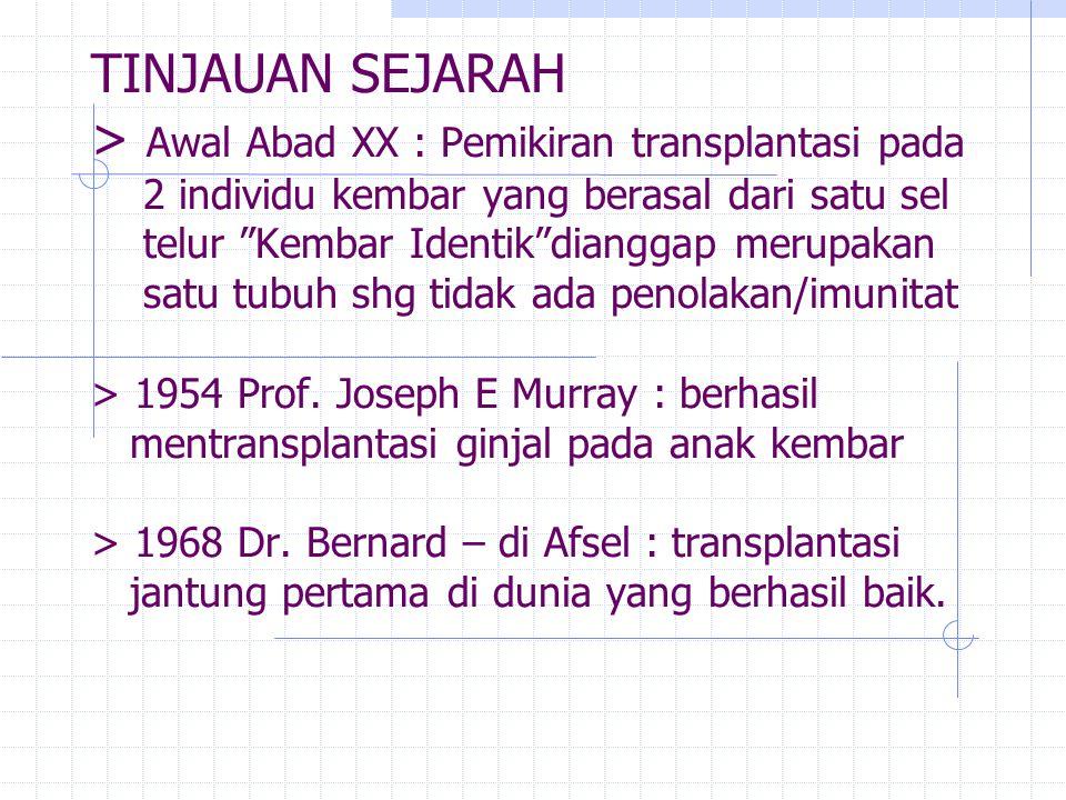 TINJAUAN SEJARAH > Awal Abad XX : Pemikiran transplantasi pada 2 individu kembar yang berasal dari satu sel telur Kembar Identik dianggap merupakan satu tubuh shg tidak ada penolakan/imunitat > 1954 Prof.