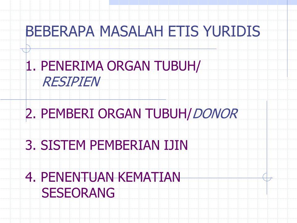BEBERAPA MASALAH ETIS YURIDIS 1. PENERIMA ORGAN TUBUH/ RESIPIEN 2