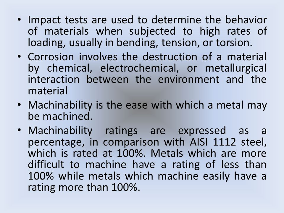 Impact tests are used to determine the behavior of materials when subjected to high rates of loading, usually in bending, tension, or torsion.