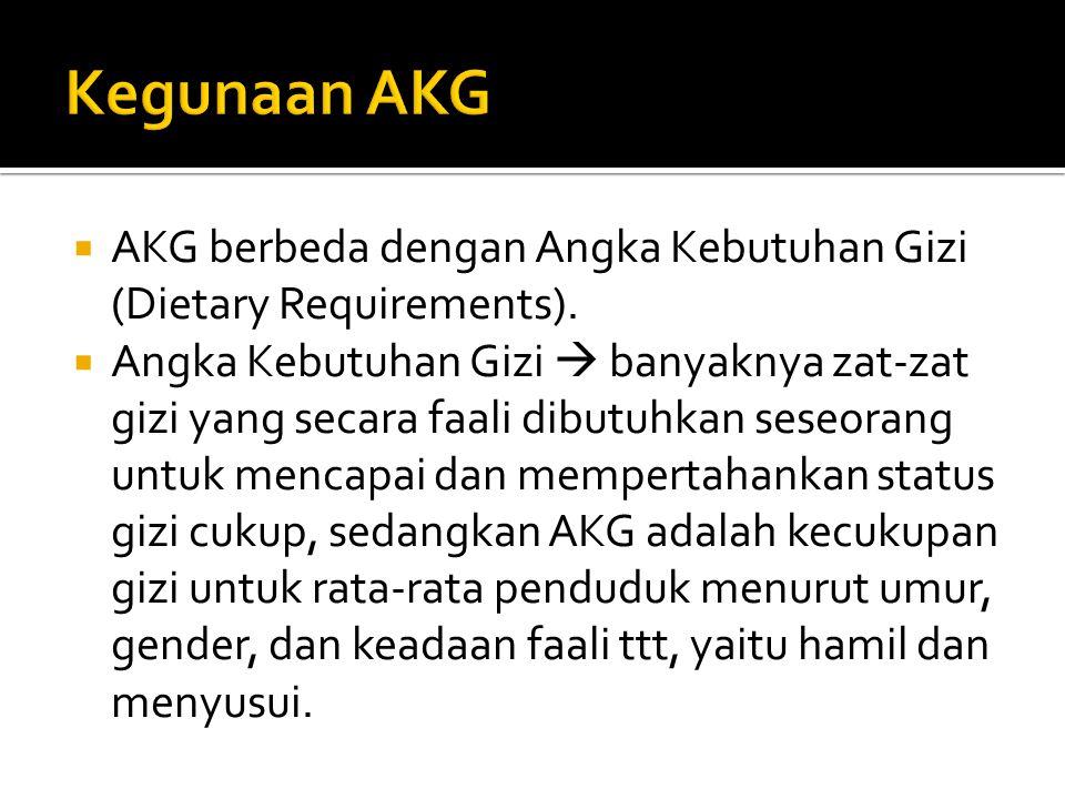 Kegunaan AKG AKG berbeda dengan Angka Kebutuhan Gizi (Dietary Requirements).