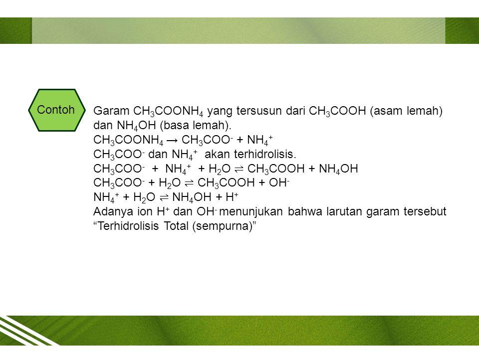 Contoh Garam CH3COONH4 yang tersusun dari CH3COOH (asam lemah) dan NH4OH (basa lemah). CH3COONH4 → CH3COO- + NH4+