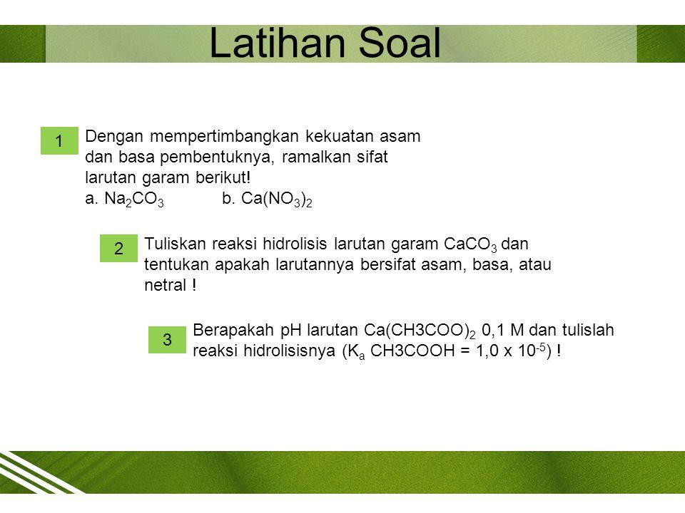 Latihan Soal Dengan mempertimbangkan kekuatan asam dan basa pembentuknya, ramalkan sifat larutan garam berikut!