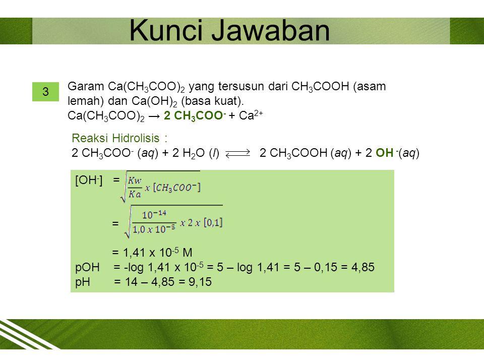 Kunci Jawaban Garam Ca(CH3COO)2 yang tersusun dari CH3COOH (asam lemah) dan Ca(OH)2 (basa kuat). Ca(CH3COO)2 → 2 CH3COO- + Ca2+
