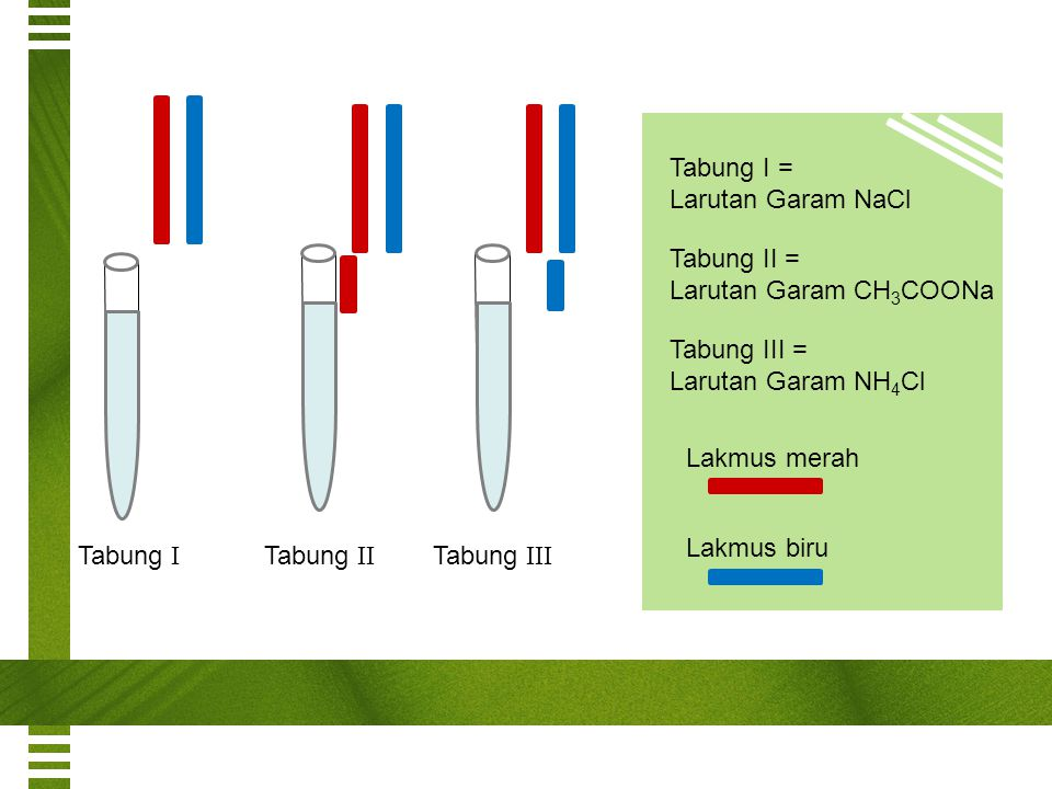 Tabung I = Larutan Garam NaCl. Tabung II = Larutan Garam CH3COONa. Tabung III = Larutan Garam NH4Cl.