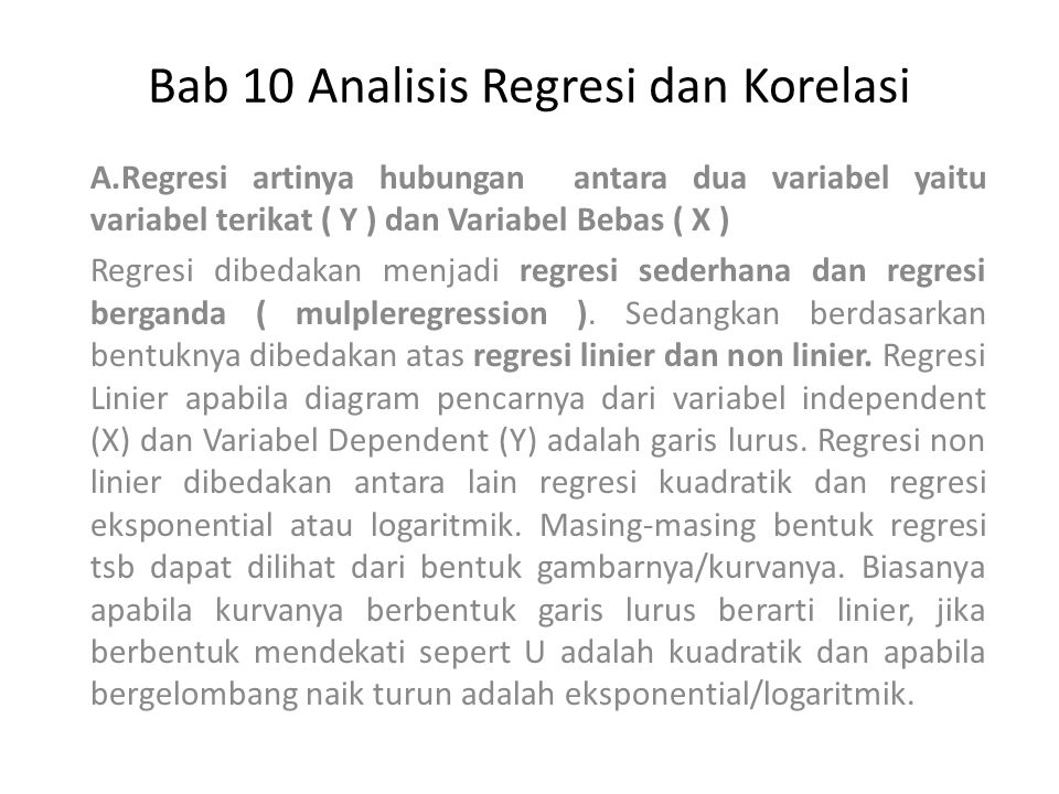 Bab 10 Analisis Regresi dan Korelasi