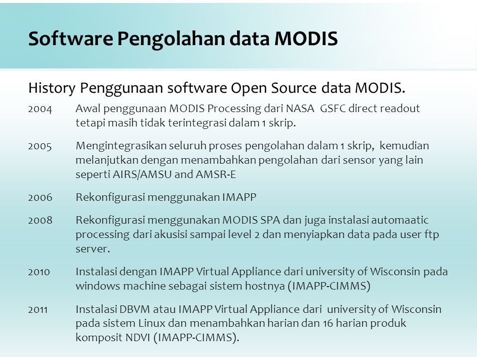 Software Pengolahan data MODIS