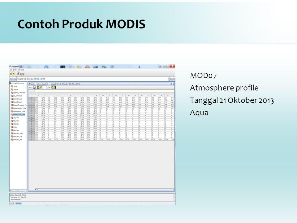 Contoh Produk MODIS MOD07 Atmosphere profile Tanggal 21 Oktober 2013 Aqua