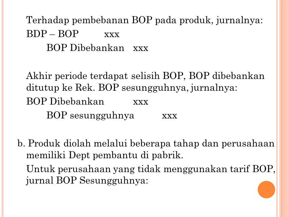 Terhadap pembebanan BOP pada produk, jurnalnya: BDP – BOP xxx BOP Dibebankan xxx Akhir periode terdapat selisih BOP, BOP dibebankan ditutup ke Rek.