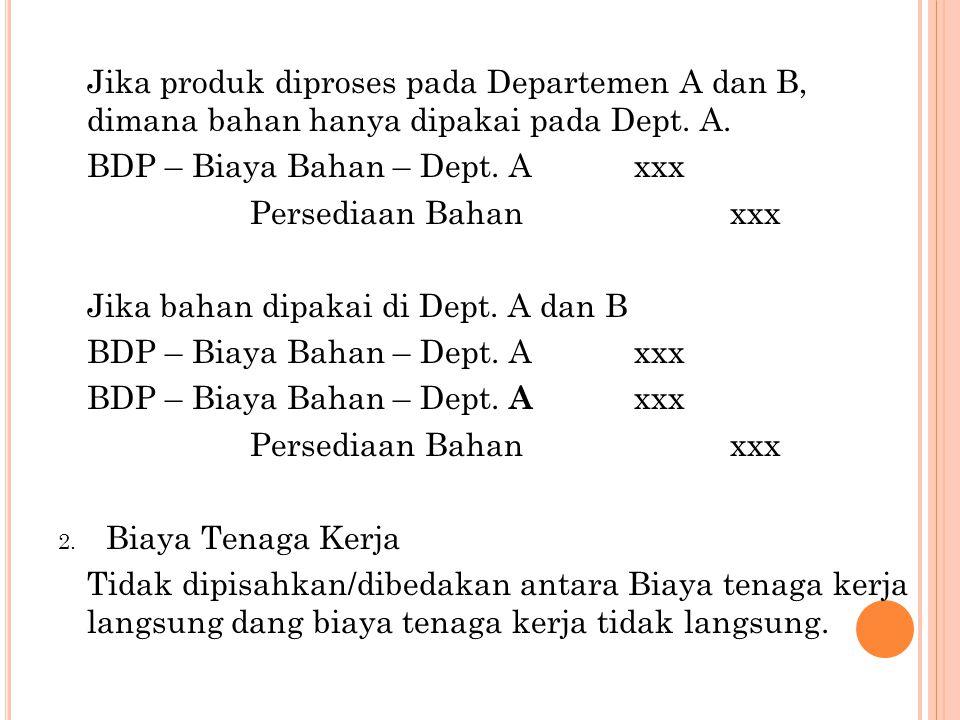 Jika produk diproses pada Departemen A dan B, dimana bahan hanya dipakai pada Dept. A.
