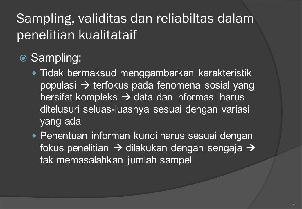 Sampling, validitas dan reliabiltas dalam penelitian kualitataif