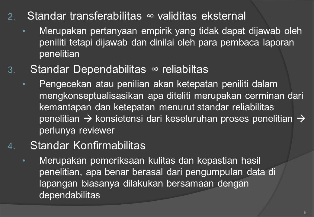 Standar transferabilitas ∞ validitas eksternal