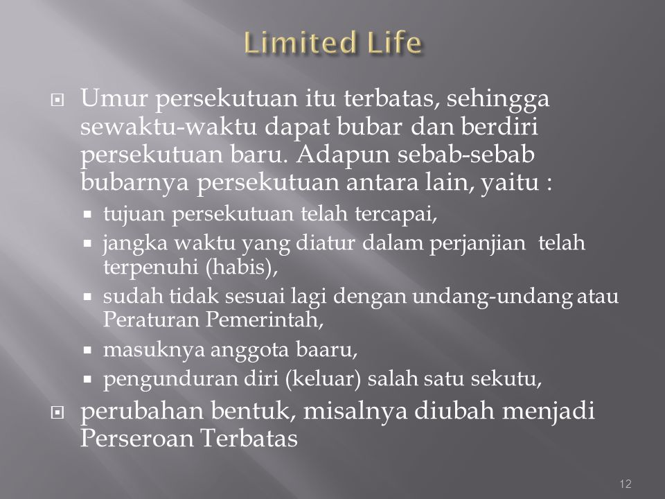 Limited Life