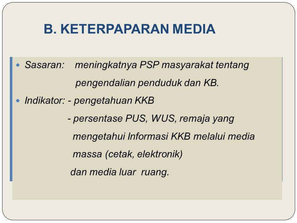B. KETERPAPARAN MEDIA Sasaran: meningkatnya PSP masyarakat tentang
