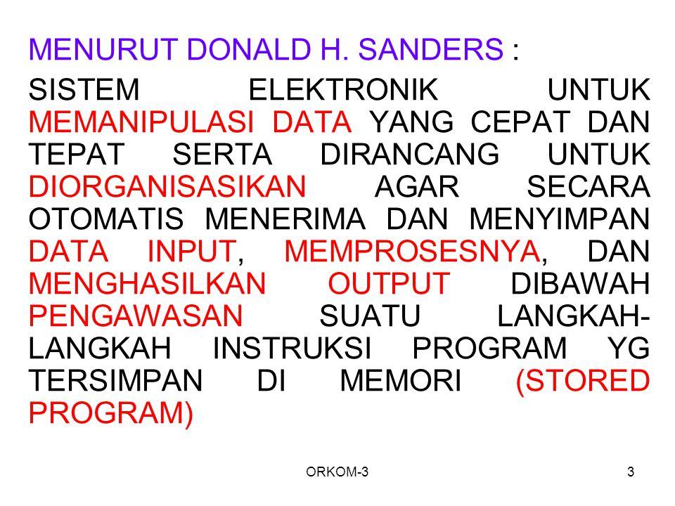 MENURUT DONALD H. SANDERS :