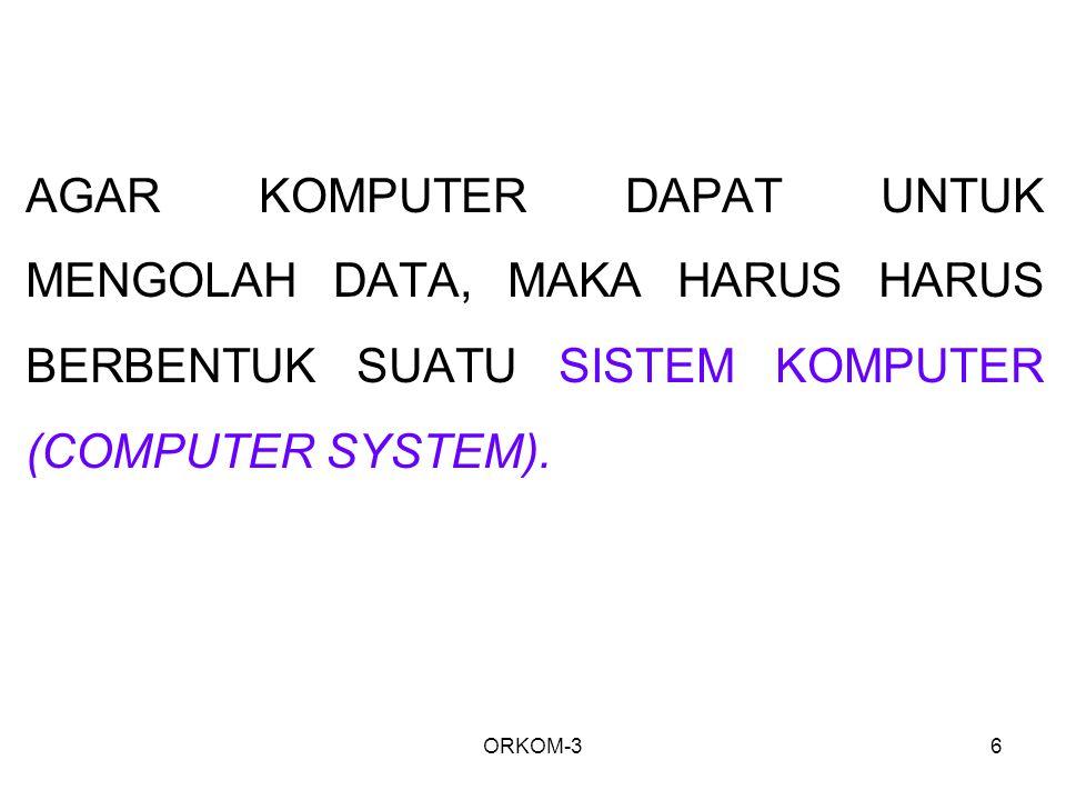 AGAR KOMPUTER DAPAT UNTUK MENGOLAH DATA, MAKA HARUS HARUS BERBENTUK SUATU SISTEM KOMPUTER (COMPUTER SYSTEM).