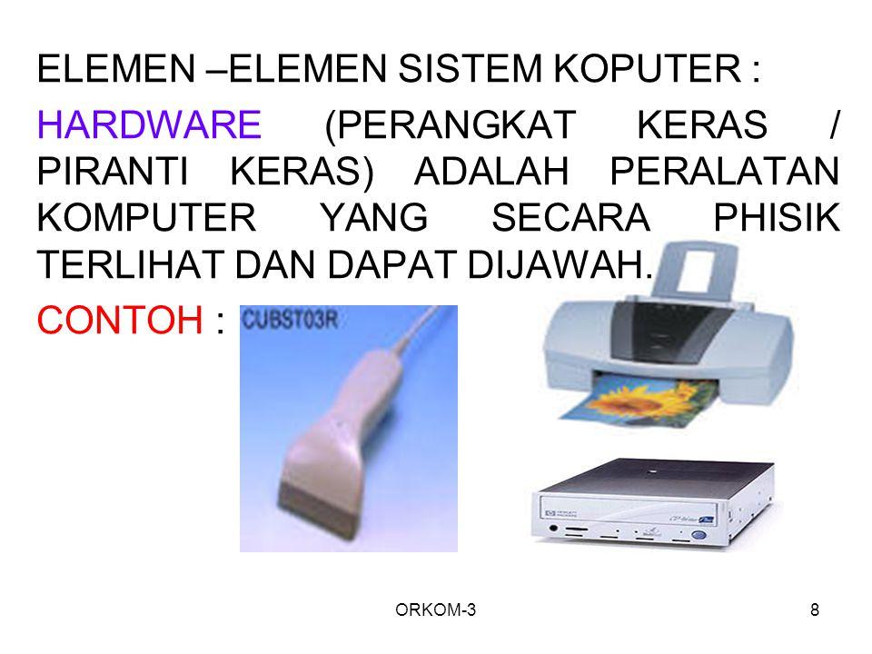 ELEMEN –ELEMEN SISTEM KOPUTER :