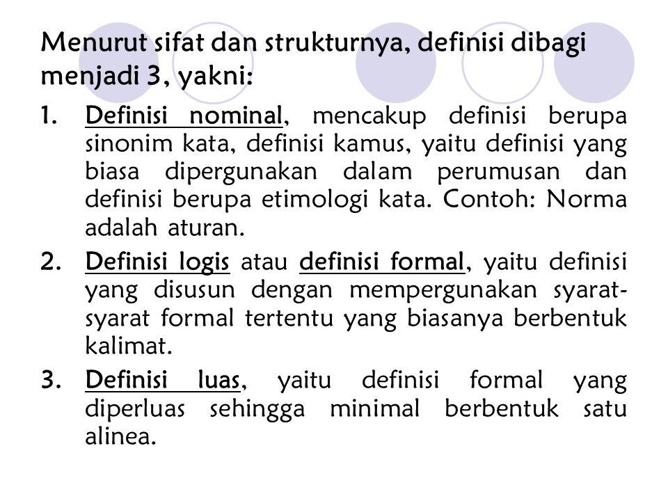 Menurut sifat dan strukturnya, definisi dibagi menjadi 3, yakni: