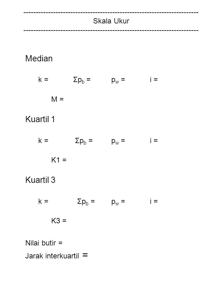 Nilai butir = Jarak interkuartil = Median Kuartil 1 Kuartil 3