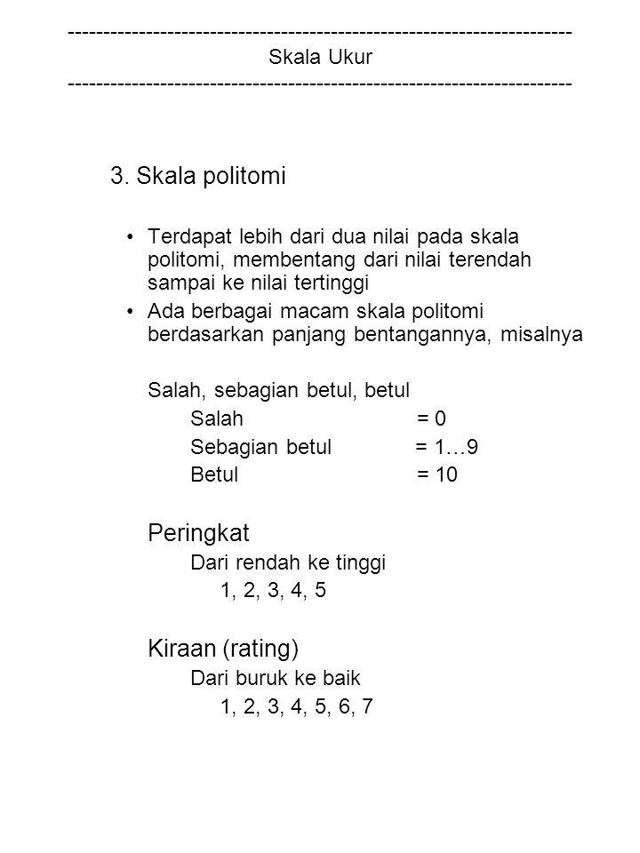 3. Skala politomi Peringkat Kiraan (rating)