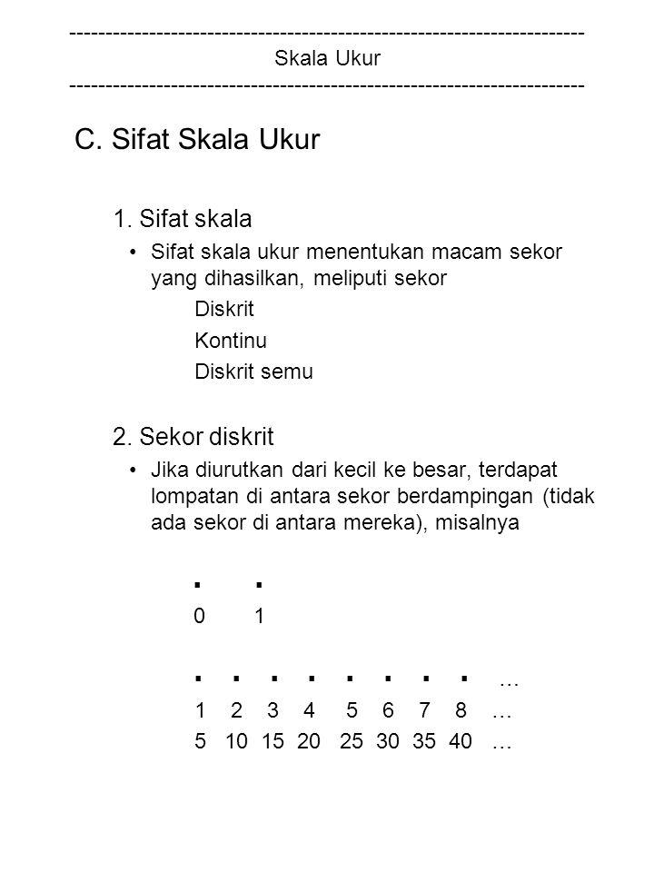 C. Sifat Skala Ukur 1. Sifat skala 2. Sekor diskrit