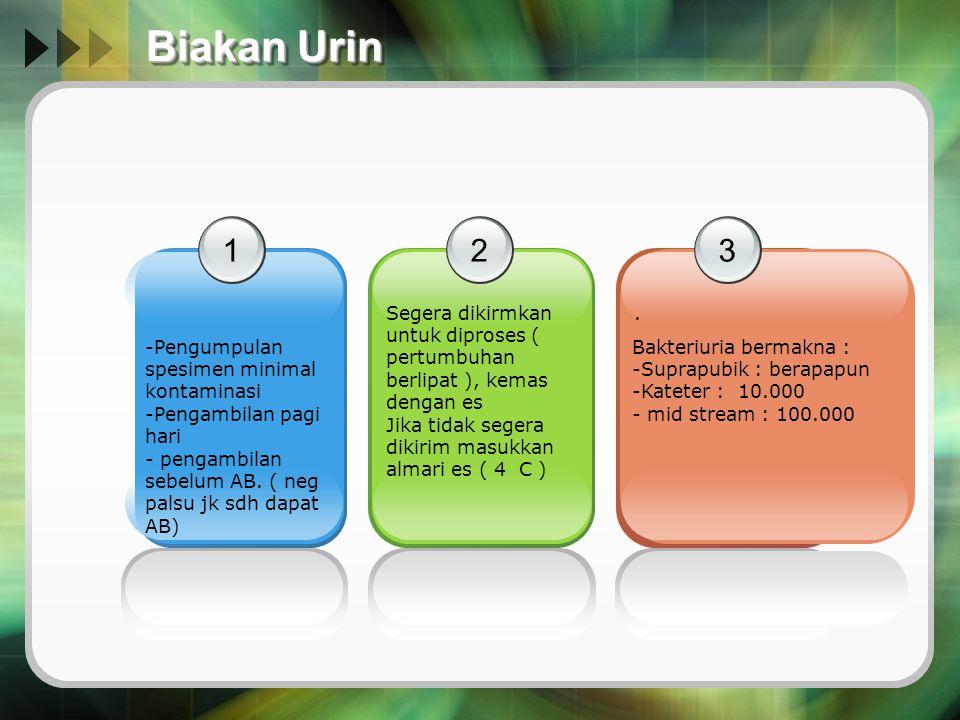 Biakan Urin 1 2 3 Pengumpulan spesimen minimal kontaminasi