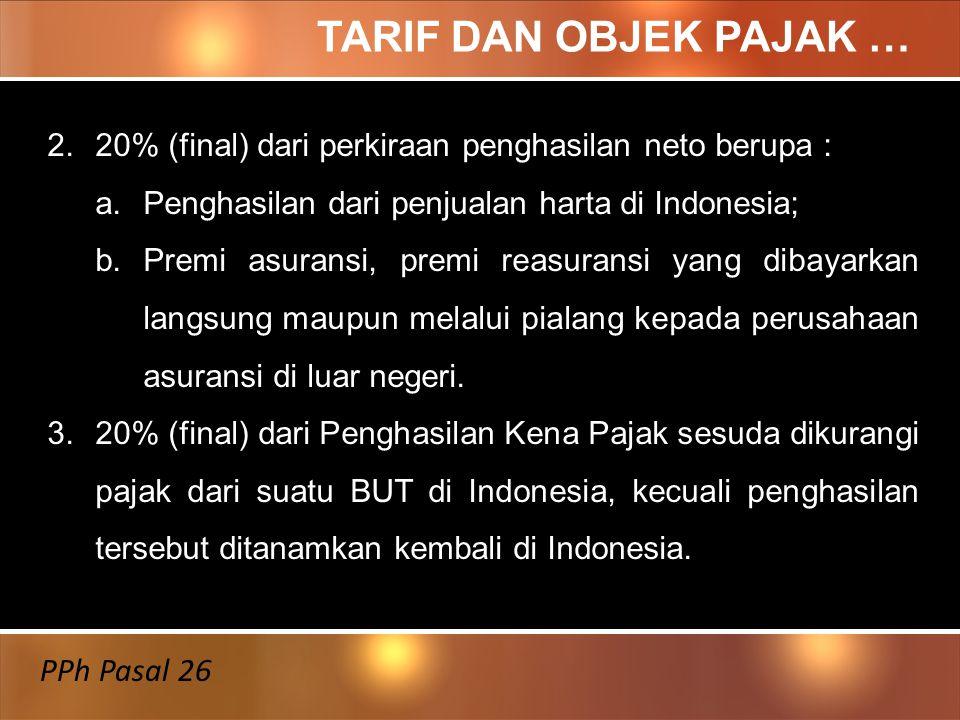 TARIF DAN OBJEK PAJAK … PPh Pasal 26