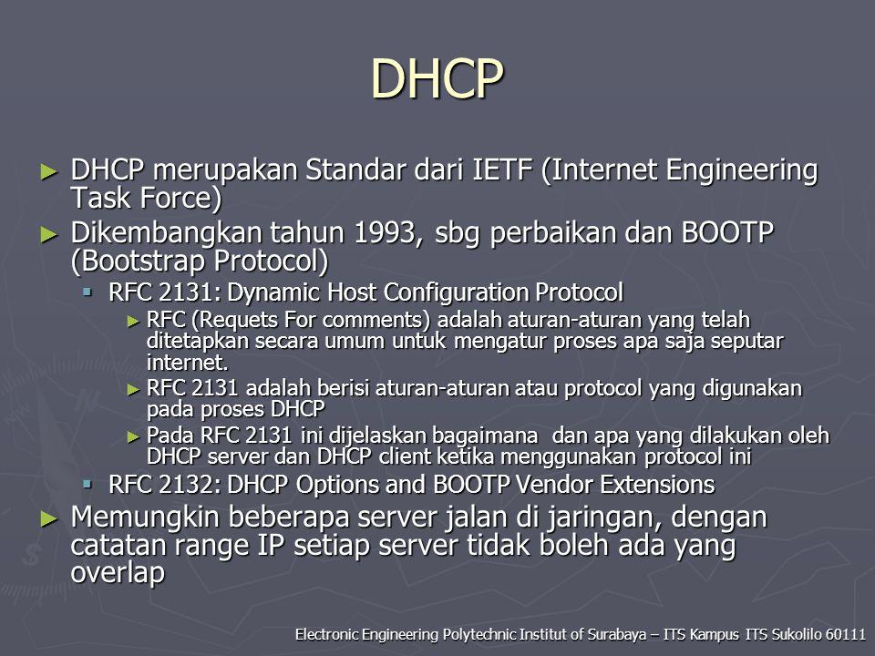 DHCP DHCP merupakan Standar dari IETF (Internet Engineering Task Force) Dikembangkan tahun 1993, sbg perbaikan dan BOOTP (Bootstrap Protocol)
