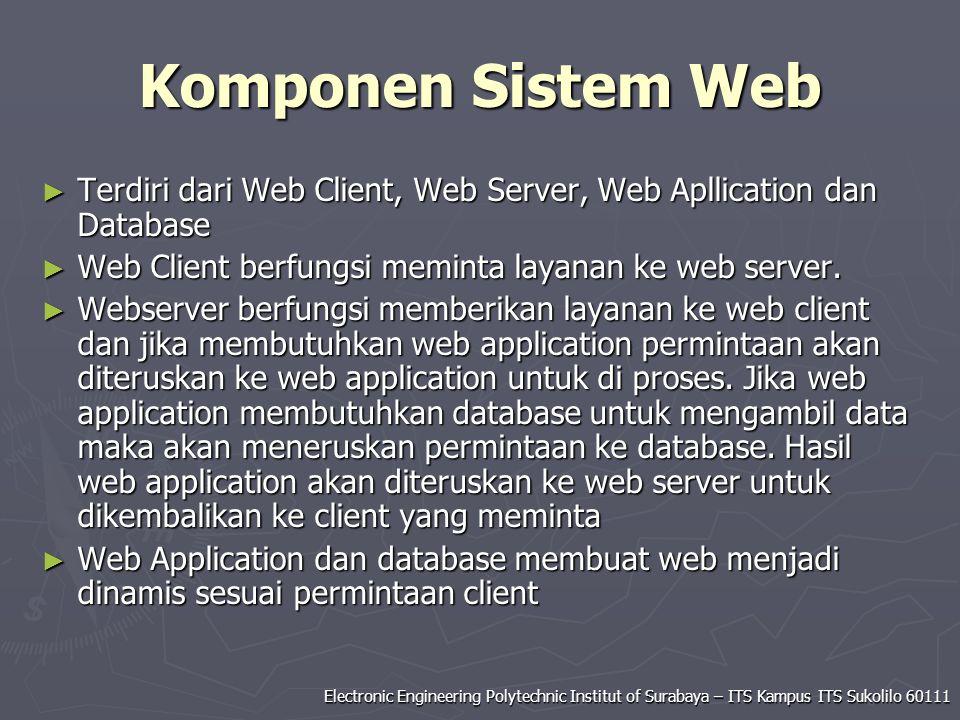 Komponen Sistem Web Terdiri dari Web Client, Web Server, Web Apllication dan Database. Web Client berfungsi meminta layanan ke web server.
