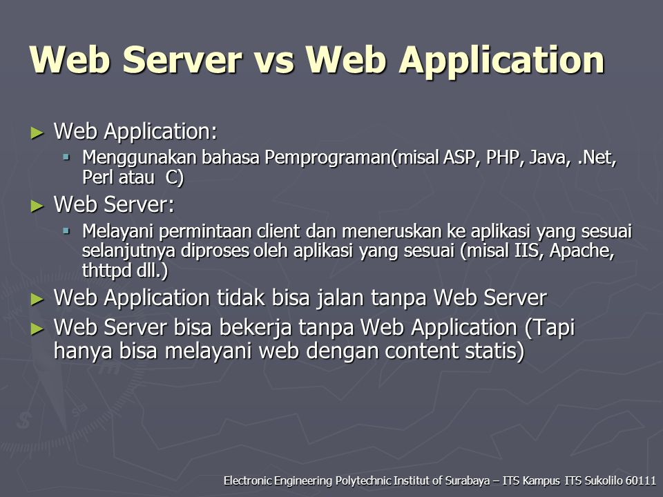 Web Server vs Web Application