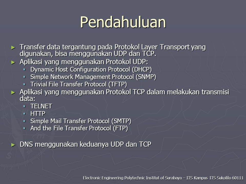 Pendahuluan Transfer data tergantung pada Protokol Layer Transport yang digunakan, bisa menggunakan UDP dan TCP.