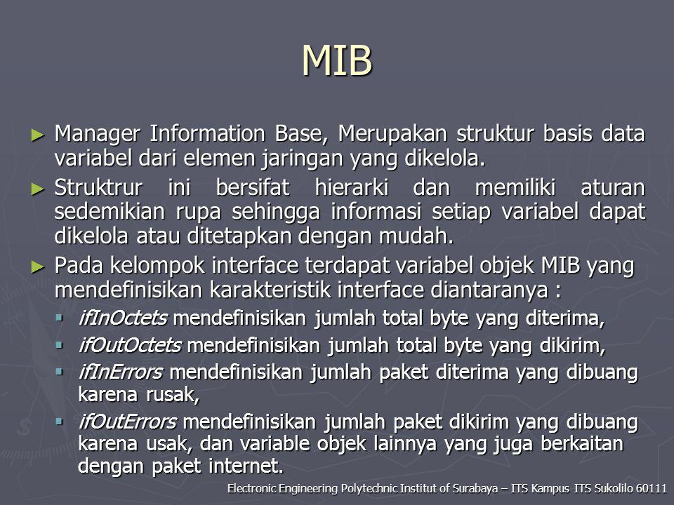 MIB Manager Information Base, Merupakan struktur basis data variabel dari elemen jaringan yang dikelola.