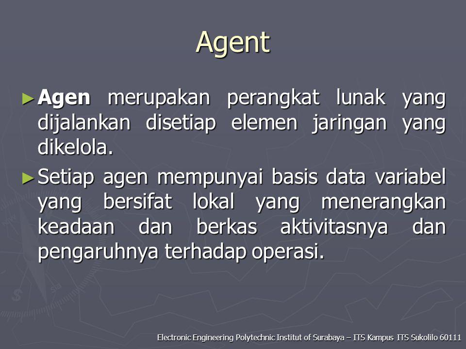 Agent Agen merupakan perangkat lunak yang dijalankan disetiap elemen jaringan yang dikelola.