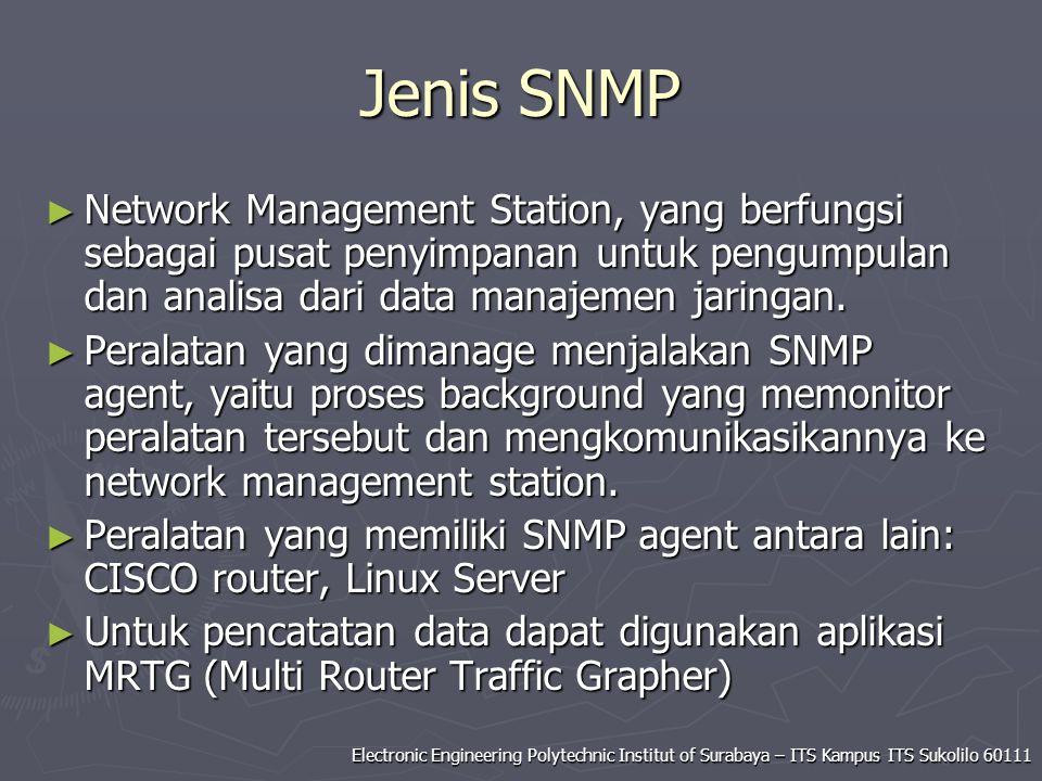 Jenis SNMP Network Management Station, yang berfungsi sebagai pusat penyimpanan untuk pengumpulan dan analisa dari data manajemen jaringan.
