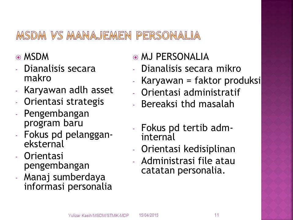 MSDM VS MANAJEMEN PERSONALIA