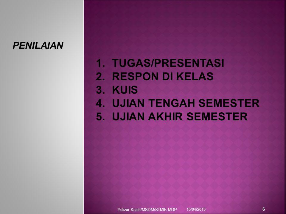 TUGAS/PRESENTASI RESPON DI KELAS KUIS UJIAN TENGAH SEMESTER