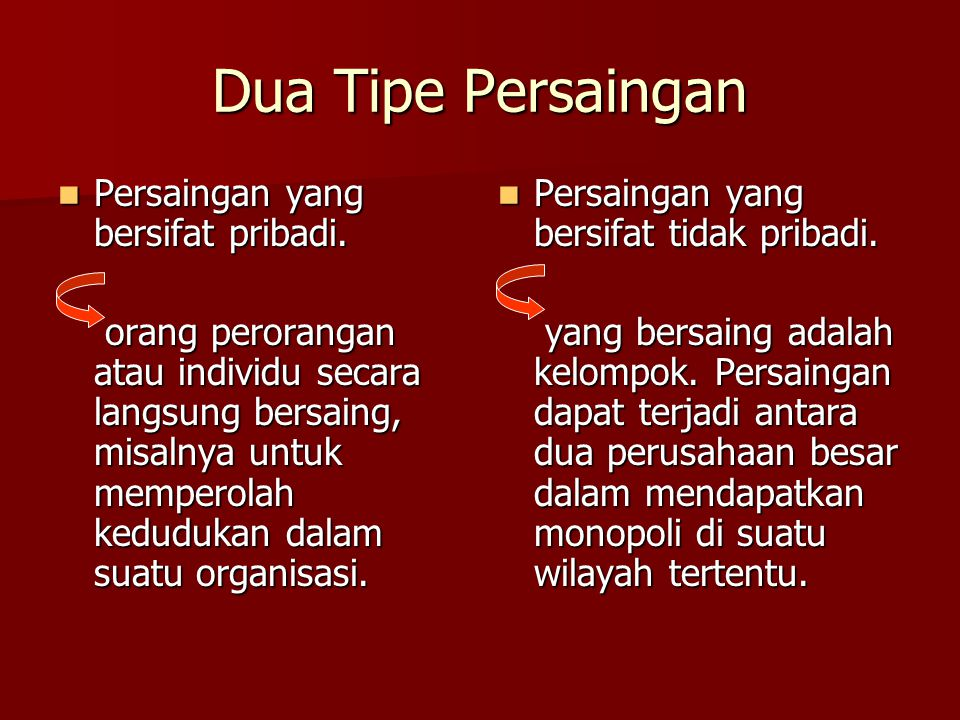 Dua Tipe Persaingan Persaingan yang bersifat pribadi.