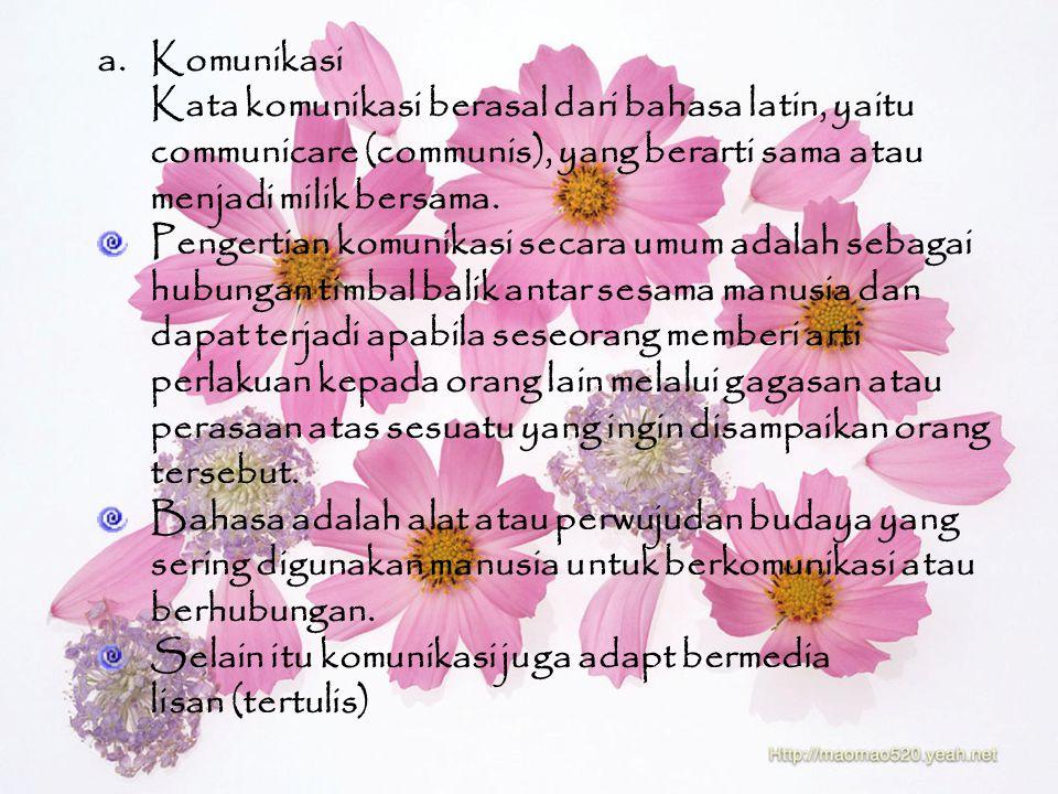 Komunikasi Kata komunikasi berasal dari bahasa latin, yaitu. communicare (communis), yang berarti sama atau.