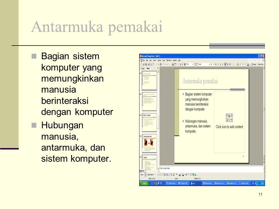 Antarmuka pemakai Bagian sistem komputer yang memungkinkan manusia berinteraksi dengan komputer.