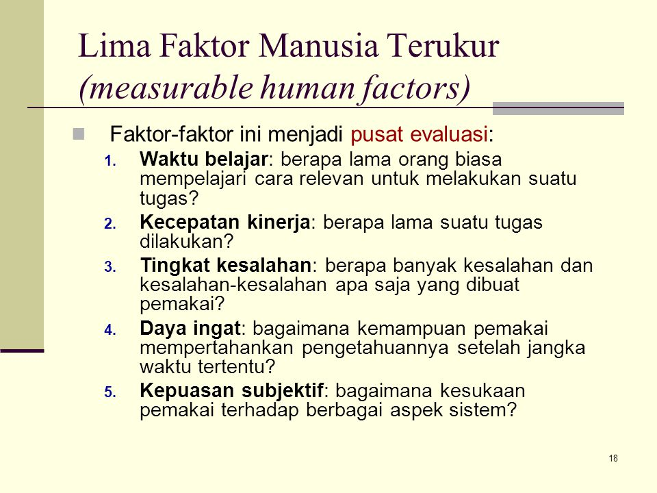 Lima Faktor Manusia Terukur (measurable human factors)