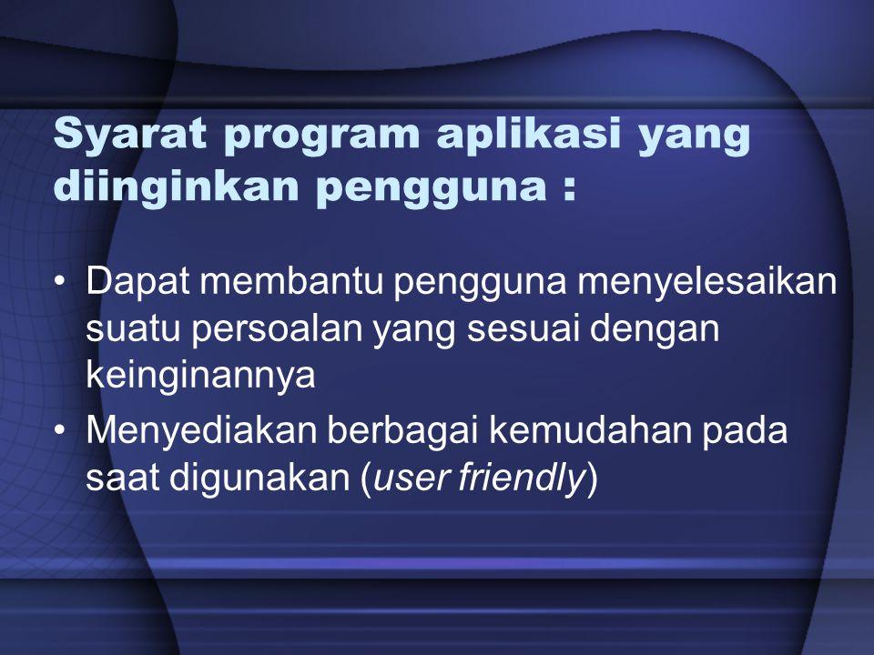 Syarat program aplikasi yang diinginkan pengguna :